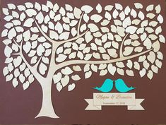 This wedding guest book alternative gives a nice touch to your wedding. The guestbook features two love birds and little hearts made of wood - your guests will sign these. This sign comes with personalized details- your names and wedding date engraved on the ribbon below the love birds.