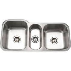 3 bowl sink undermount - Google Search