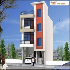 Independent House Front Inspirations And Attractive Elevations Of Houses Pictures - Nugadesigns 3 Storey House Design, Bungalow House Design, House Front Design, New Model House, Model House Plan, Small Modern House Plans, Modern Small House Design, Modern Houses, West Facing House