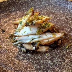 Abalone with smoked eel cream shitake mushroom & seaweed @thestag #instafood#foodporn#portfairy#goodfood#seafood#abalone by joey_food