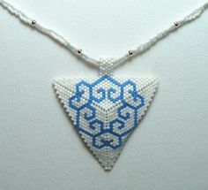 White and Blue 6 Hearts Triangle Choker by DoubleACreations, $20.00