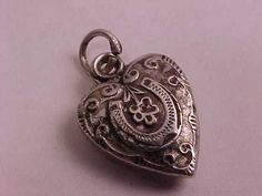 Vintage Sterling Silver Repousse Puffy Heart Charm | eBay