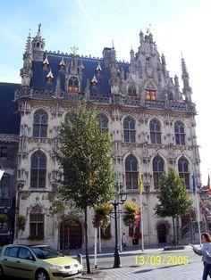 Zicht op de zuidelijke gevel in de Hoogstraat van het historische stadhuis van Oudenaarde. Langs de pui komt men in de grote vergaderzaal, van waaruit ook de schepenenzaal,de trappen naar hogere verdiepingen, en het erebureau van de burgemeester bereikbaar wordt.