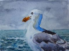 """Cerulean Blue and Ultramarine Blue. Titled: """" Seagull Posing"""". This is one-of-a-kind Watercolor Original Painting Signed ACEO. ACEO's are miniature pieces of art that make great gifts! Original ACEO (Art Cards Editions & Originals). 
