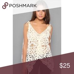 FP Lace Mamacita Crochet Tie Tank Beautiful cream Lace tank, perfect for vacation 😻 Free People Tops Tank Tops