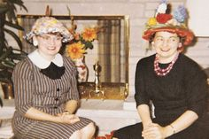 """""""Some 30 years ago, on an April afternoon, each member of the 'Friday 14' club of Thawville, Illinois, wore an Easter hat of her own design to the club meeting,"""" says Marian Zick of Roberts. """"My sister, Marge (right), won second prize with a hat she fashioned from her husband's sun helmet.""""  Do you or have you ever worn an Easter hat?"""