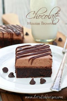 Chocolate Mousse Brownies | A dense chocolate brownie layer is topped off with a light, fluffy chocolate mousse. These brownies are a chocolate lover's dream come true!
