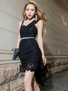 Euro Brand Sleeveless Irregular Hem Lace Dress