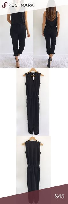 """NWT Bar III Black Jumpsuit NWT Bar III Black Jumpsuit! New with tags! Excellent condition. Super cute to wear day or night. Stretchy Elastic waist band and hem. Front zipper pockets. 100% polyester. Size extra small. Chest-37"""" waist-25"""" hips-38"""" length-56"""" inseam-26"""" Bar III Pants Jumpsuits & Rompers"""