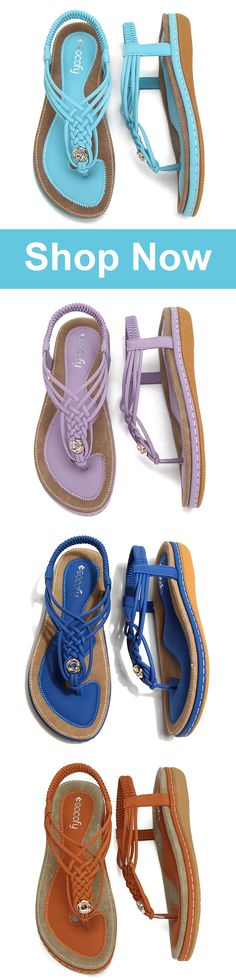 UP TO 48% OFF! Handmade Knitting Clip Toe Elastic Flat Sandals. SHOP NOW!