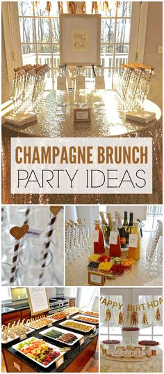 An elegant champagne brunch with a mimosa bar, a brunch buffet and dessert table. - An elegant champagne brunch with a mimosa bar, a brunch buffet and dessert table, and a classical st - Champagne Birthday, Champagne Party, Birthday Brunch, Birthday Parties, Birthday Breakfast, 30th Birthday, Birthday Themes For Adults, Elegant Birthday Party, Adult Party Themes