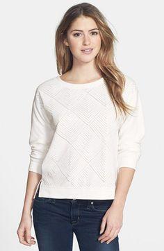 Sanctuary 'Diamond Dreamer' Faux Leather Appliqué Sweatshirt $47.40 40% OFF!