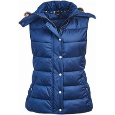 Women's Barbour Beachley Gilet - French Navy (610 BRL) ❤ liked on Polyvore featuring outerwear, vests, hooded vest, barbour vest, studded vest, navy blue waistcoat and fur trim vest