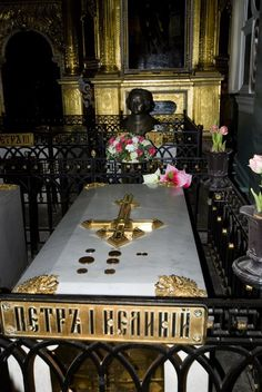 Tomb of Peter the Great in Peter and Paul Cathedral. It is located in Peter and Paul fortress, St Petersburg, Russia