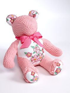 Sewing Teddy Bear Snuggle Up Pink and Floral Chenille Teddy Bear - Lovable overstuffed one-of-a-kind chenille teddy bear. Sure to be your little cuddle bear's snuggly friend for years to come. Handmade in the United States of new and vintage materials. Cute Crochet, Crochet Dolls, Crochet Bear, Beautiful Crochet, Easy Crochet, Embroidery Transfers, Embroidery Designs, Embroidery Thread, Sewing Crafts
