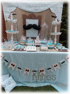 candy bar Baby Shower Cakes For Boys, Baby Boy Cakes, Baby Boy Shower, Mustache Birthday, Baby Boy Birthday, Baby Boy Baptism, Boy Christening, Blue Candy Bars, Baby Boy Accessories