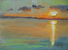 """Abstract Landscape, Sunset Over Water, Daily Painting, Small Oil Painting, 6x8"""" Oil Painting"""