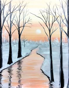 Trees and water Diy Painting, Painting & Drawing, Easy Landscape Paintings, Canvas Artwork, Pictures To Paint, Art Techniques, Painting Inspiration, Pastel, Watercolor Paintings