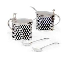 A PAIR OF GEORGE III SILVER DRUM MUSTARD POTS, MARK OF A.L IN RECTANGULAR PUNCH, LONDON, 1775 Century Textiles, Sterling Sliver, Silver Accessories, Textile Patterns, Serving Dishes, Georgian, Flatware, 18th Century, Pewter