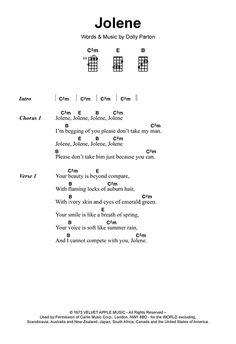 Jolene sheet music by Dolly Parton (Ukulele – Ukulele Songs Popular, Ukulele Chords Disney, Easy Ukelele Songs, Ukulele Songs Beginner, Guitar Songs For Beginners, Guitar Chords And Lyrics, Guitar Chords For Songs, Uke Songs, Piano Songs