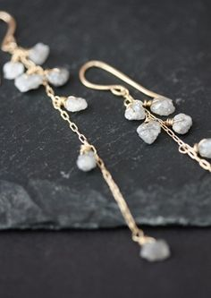 Rough Diamond Cascade Earrings 14kt gold wedding long by LexLuxe.