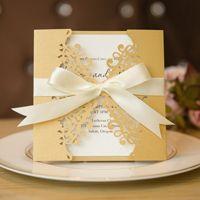 diy gold and cream laser cut wedding invitations card swws007
