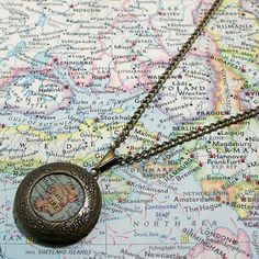 CUSTOM+Map+Locket.+You+Select+Location.+Anywhere+by+BrassAndChain,+$22.00