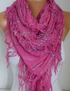 Pink Cotton Tartan Scarf Mother's Day Gift Spring by fatwoman