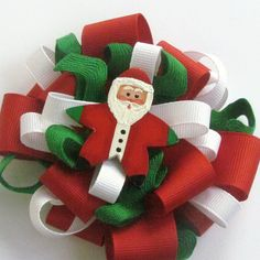 Christmas Hair Bow with hand painted Santa Clause by SunshineFrogs, $10.00