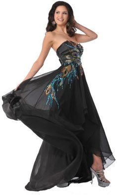 Strapless Peacock Holiday High Low Chiffon Prom Homecoming Formal Dress - Black - 8
