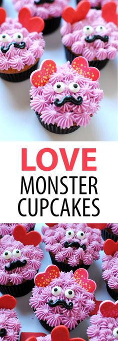 Love Monster Cupcakes by Let's Eat Cake // valentine cupcakes // valentine's day // valentine // hearts // fondant animals // monster cupcakes // holiday cupcakes