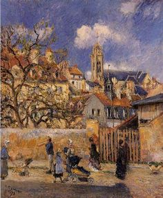 ۩۩ Painting the Town ۩۩ city, town, village & house art - A Village Street in Winter - Camille Pissarro - Le Parc aux Charrettes, Pontoise, 1878 Claude Monet, Paul Gauguin, Camille Pissarro Paintings, Pissaro Paintings, Paris, Gustave Courbet, Mary Cassatt, Oise, Post Impressionism