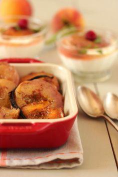 Pêches rôties à la vanille et à l'huile d'olive