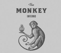 The Monkey Inferno Logo Identity created by Steven Noblein a scratchboard woodcut style Logo Inspiration, Logo Branding, Branding Design, Logo Design Company, Corporate Branding, Brand Identity, Monkey Illustration, Fashion Logo Design, Oldschool