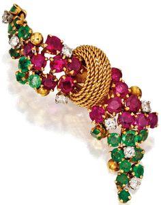 Marchak - Pendants d'Oreilles Articulés - Or, Rubis, Emeraudes et Diamants - Vers 1950