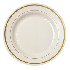 "Create a sophisticated presentation at your party with disposable dishes! This is a set of 15 Fineline Gold Splendor bone white 6"" plastic plates. Two golden bands give this heavyweight plate a distin"