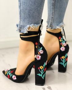 Plain Chunky High Heeled Peep Toe Date Travel Sandals - Buy Online Dress - - Floral Embroidered Pointed Toe Chunky Heeled Sandals – Source by Lace Up Heels, Strap Heels, Pumps Heels, Stiletto Heels, Heeled Sandals, Floral Heels, Flat Sandals, Floral Boots, Ankle Straps
