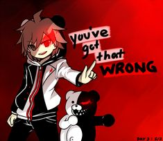 """Dangan Ronpa - Makoto Naegi - """"You've Got That Wrong"""" / I adore the Mastermind Naegi AU!! I'm glad it's not canon--because that would be way to confusing--but I love the fan art! ^-^"""