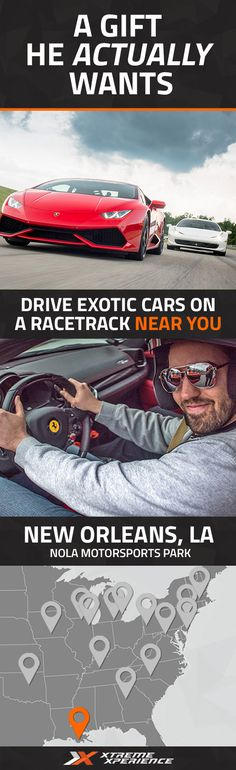 Driving a Ferrari, Lamborghini, Porsche or other exotic sports car on a racetrack is guaranteed to leave a smile on anyone's face and a life-long memory. Xtreme Xperience brings the thrill of a lifetime to you at NOLA Motorsports Park, just 30 minutes from the French Quarter. Reserve your Supercar Xperience today for as low as $99. Each Xperience includes a classroom session, pro instruction, discovery laps and 3 to 6 laps of driving.