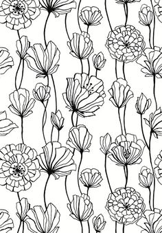 54 New ideas for flowers black and white drawing zentangle Surface Pattern Design, Pattern Art, Print Patterns, Pattern Painting, Black Pattern, L Wallpaper, Pattern Wallpaper, White Flower Wallpaper, Temporary Wallpaper
