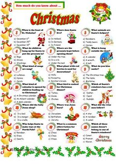 A quiz about Christmas. I hope you like it! - ESL worksheets