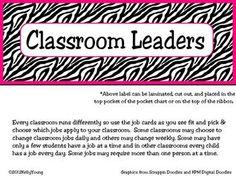 Classroom Leaders Job Cards Zebra Print $3