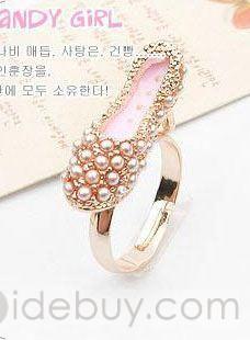 Sweet Korean Style Alloy Hight Heels Pearl Rhinestone Adjustable Ladys Ring : Tidebuy.com