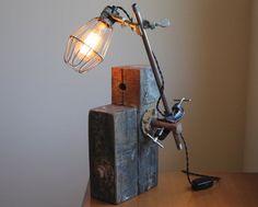 Industrial desk lamp, reclaimed wood lamp, rustic beam wood, industrial lamp, unique table lamp