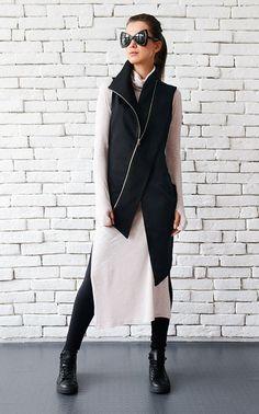 Black Asymmetric Top/Elegant Long Vest/Extravagant Sleeveless   Etsy