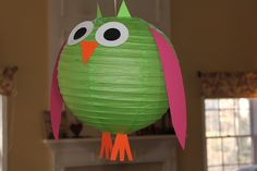 Owl Party Decor - lantern with cardboard eyes and wings Owl Themed Parties, Owl Parties, Sleepover Birthday Parties, Baby Girl Birthday, 2nd Birthday, Birthday Ideas, Animal Party, Craft Party, First Birthdays