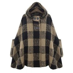 Trendy Hooded Double-Breasted Plaid Cape Coat For Women
