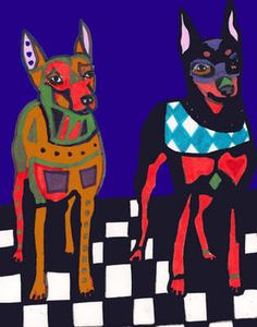 Print Miniature Pinscher MIN Pin Dog Doberman Art | eBay $8.49