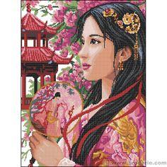 0 point de croix fille asiatique japonaise en rose - cross stitch asian- japanese girl in pink -  aida 5,5 47x53cm