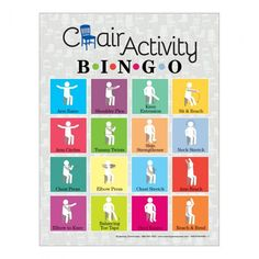 The Chair Activity Bingo Game features seated stretches and simple movements that must be completed in order to mark your game card. Perfect for use with older adults classrooms with limited space or anyone with limited mobility. Elderly Activities, Senior Activities, Therapy Activities, Physical Activities, Therapy Ideas, Elderly Games, Ot Therapy, Dementia Activities, Movement Activities
